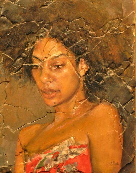"Judith Peck, ""Alligator Purse,"" 14x11, Oil on and plaster on birch"