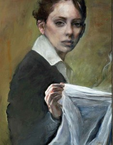"Judith Peck, ""Considering the Veil."" 16x20, Oil on linen"