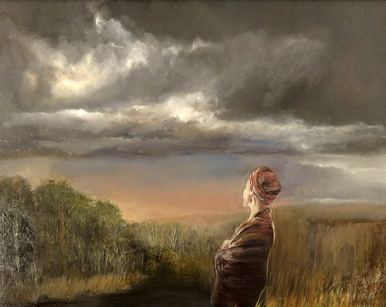 "Judith Peck, ""The Downpour,"" 24x30 inches, Oil on birch"