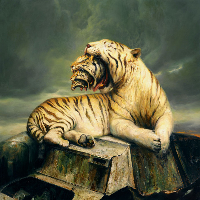 "Golod, 63.5"" x 63.5"", Oil on linen, 2012 Private collection"
