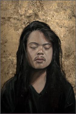 Portrait of painter, Dante Horoiwa, oil and gold leaf on wood, 2012, artist: Ignore por favor.