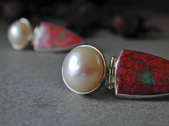 chrysocola in cuprite, and freshwater pearls, sterling silver, 14kt gold