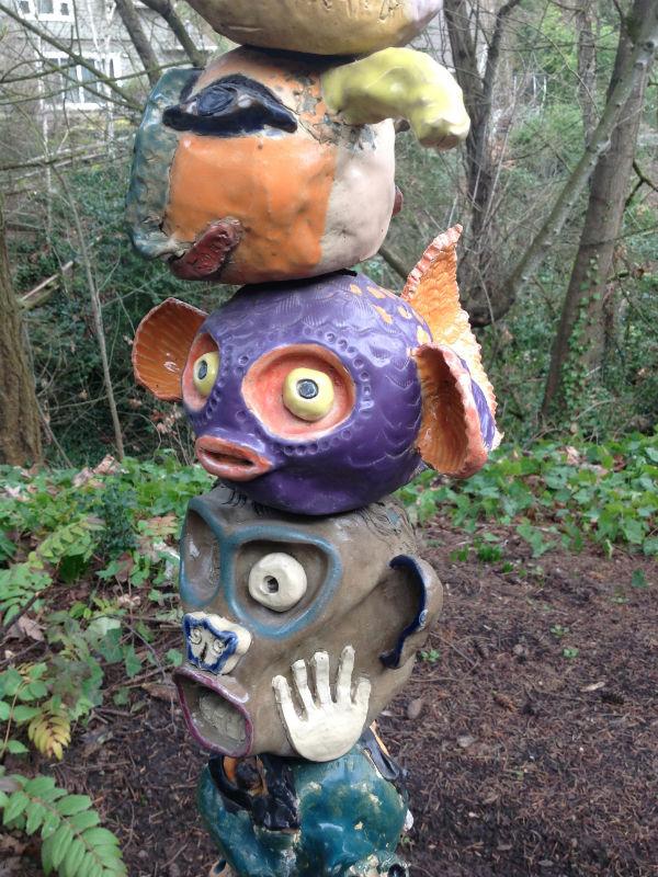 Community-built ceramic totem poles, West Linn Public Library, Oregon 600x800