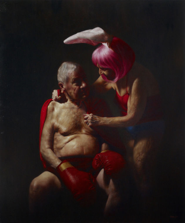"""The Boxer,"" Jason Bard Yarmosky, oil on linen 72""x60"" private collection"