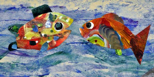 """Fish Conversation,"" created by Portland metro area school children, working with artist-in-resident, Kaaren Pixton"