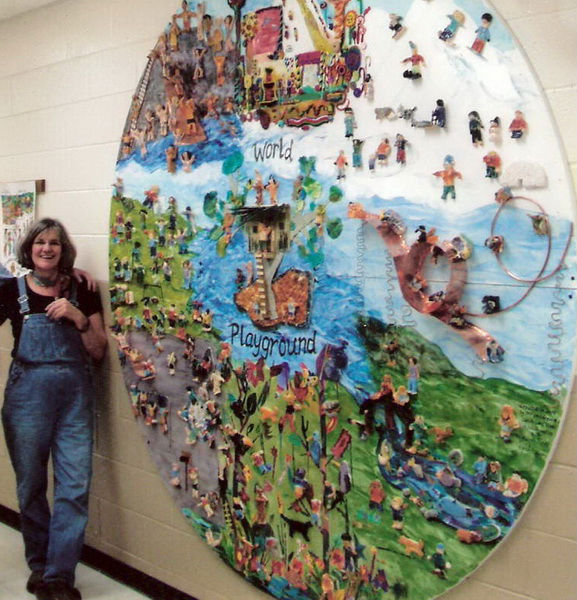 """Artist-in-resident, Kaaren Pixton, with """"World Playground: Candy Lane"""""""