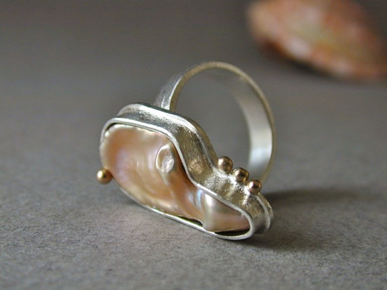 Lustrous Pink Keshi Pearl Ring in Sterling Silver by betsy bensen