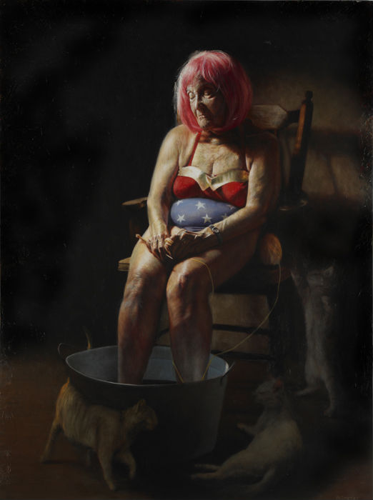"""Wondering Woman,"" Jason Bard Yarmosky, oil on linen 48″x36″ private collection"