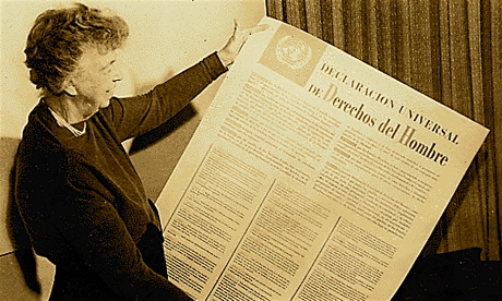 Former U.S. First Lady Eleanor Roosevelt, with a post of the  United Nations Universal Declaration of Human Rights