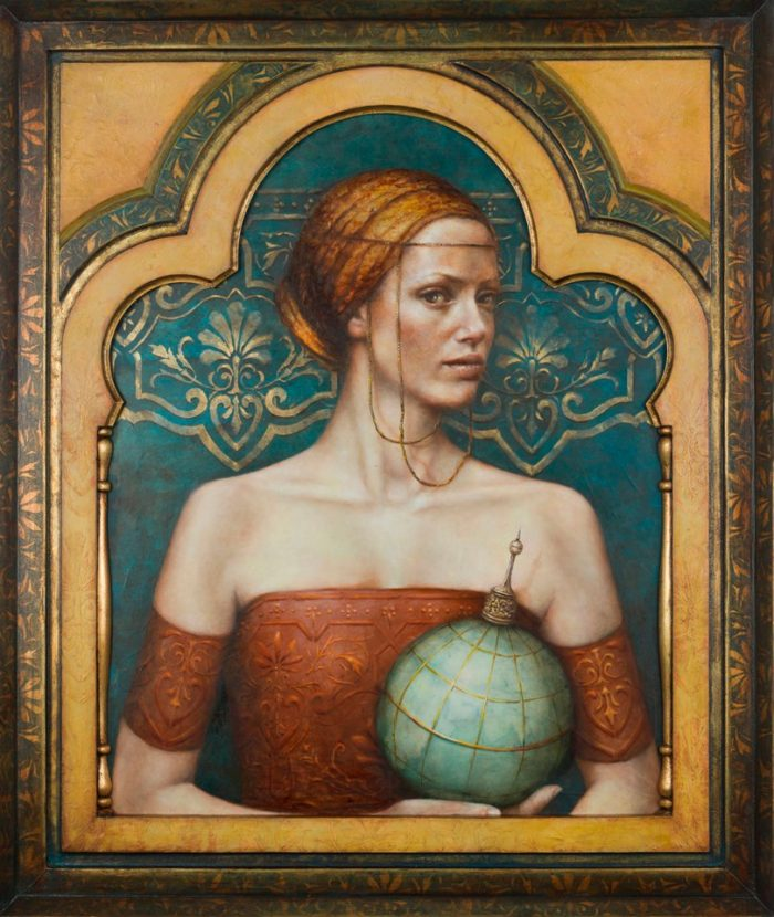 Terra Incognita | oil an dutch metal on board | 36 x 30 in | Pam Hawkes