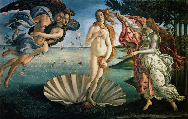 Nascita di Venere, Sandro Botticelli (1485) - Uffizi Firenze