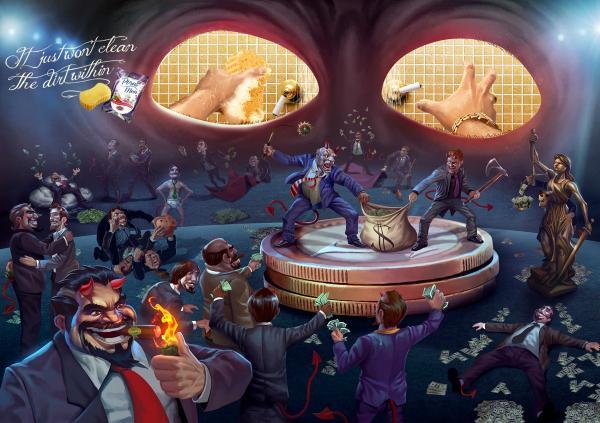 "Limppano Porus Bath Sponge- ""Dirty Mind, Greed"" Print Ad by Giovanni+Draftfcb, Rio De Janeiro"