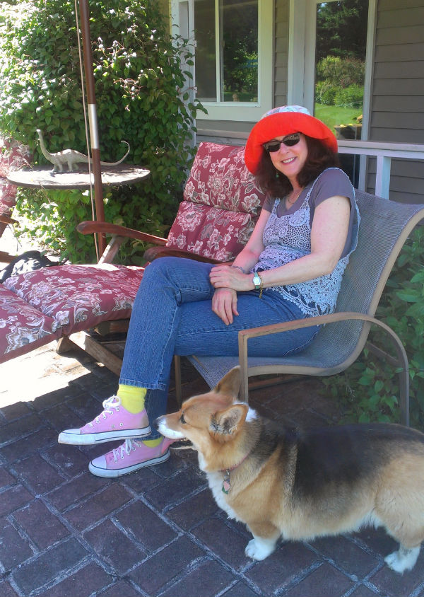 Nicole Rubel with her corgi, Fang