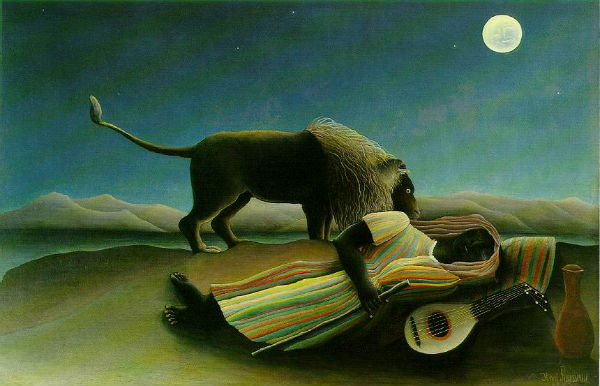 Sleeping Gypsy (La Bohémienne Endormie), Henri Rousseau-  (1897) - Museum of Modern Art New York