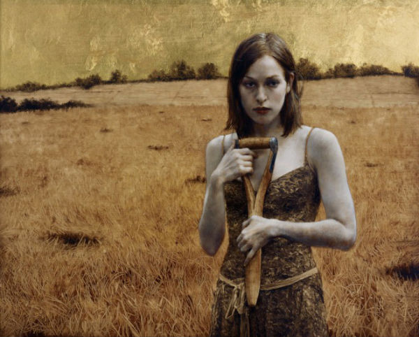 Her Own Field, Brad Kunkle, Oil and gold leaf on linen.