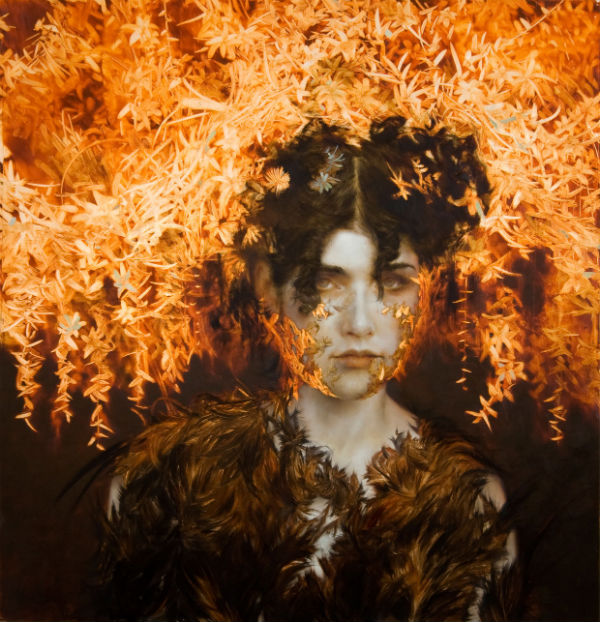 Candela, 33 x 32 inches, Oil and silver leaf on wood.