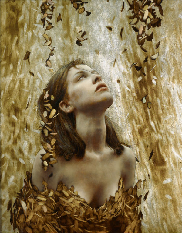 Halfway, Brad Kunkle, oil, silver and gold leaf on linen.