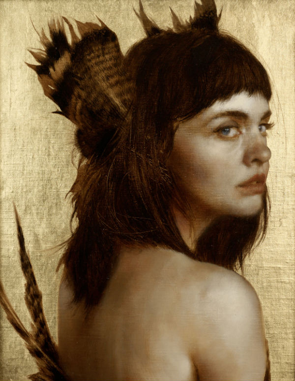 Listening Feathers Oil and gold leaf on linen. 10 x 8 inches