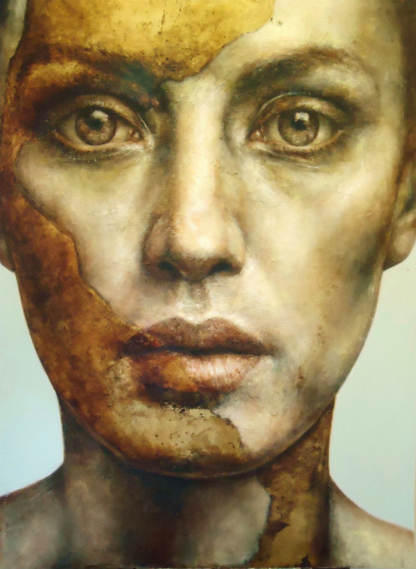 "Pam Hawkes ""You Made Me"" II, oil, beeswax and dutch metal on board 41ins x 30ins.  600"