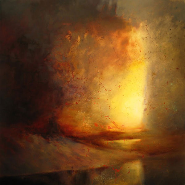"""Threshold,"" Oil, metal leaf, mixed media on panel, 48"" x 48"", Steven DaLuz"