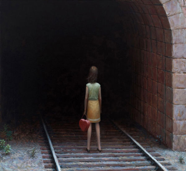 Train Tunnel  | oil on canvas | 30 x 32 inches | 2009 | Aron Wiesenfeld