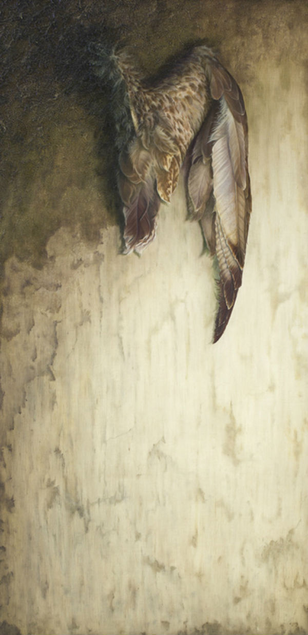 "A Gracious Descent | oil and plaster on board | 38"" x 16"" 