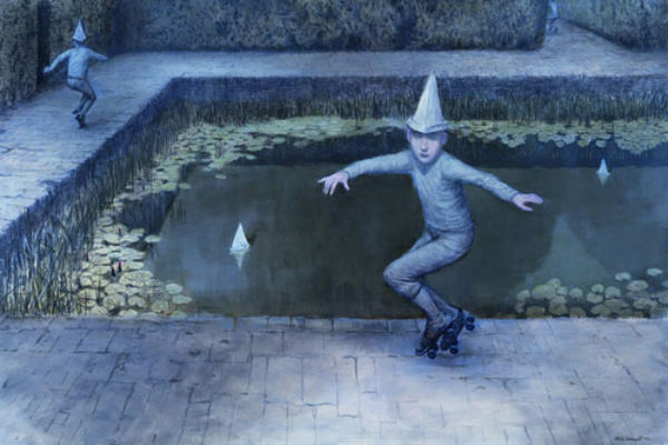 Exit Deferred (Odd Dream Sequence) | oil on linen | 122x183cm | 2005 | Mike Worrall