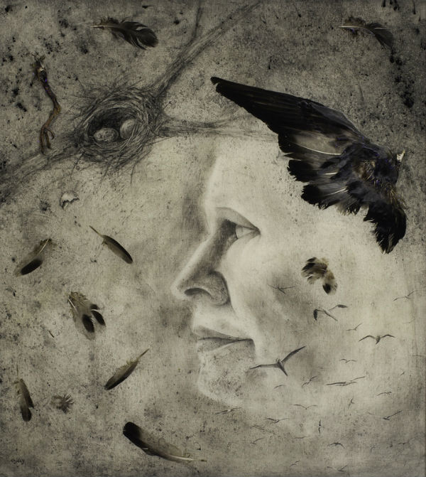 The Balance Between Hope and Depair | charcoal, found bird & epoxy | Ajay Brainard 26_ x 24_ 600