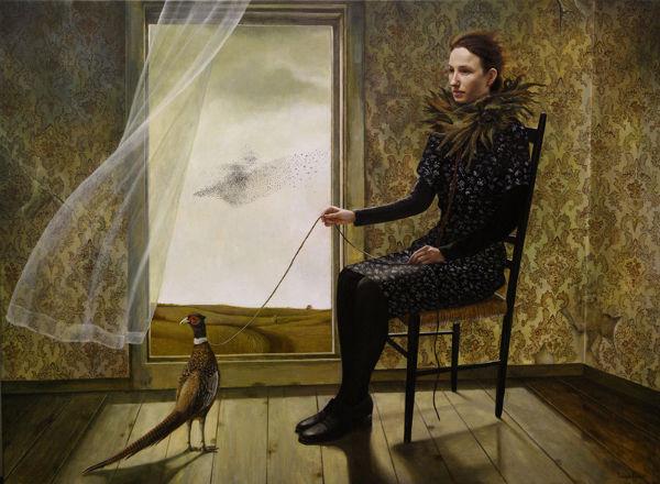 Pheasant Keeper | 36x48 | acrylic-on-canvas | Andrea Kowch
