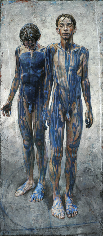 "<em>Blue Boys, Study for Archers</em> | acrylic on canvas/acrylique sur toile | 127 x 56 cm, 50"" x 22"" 