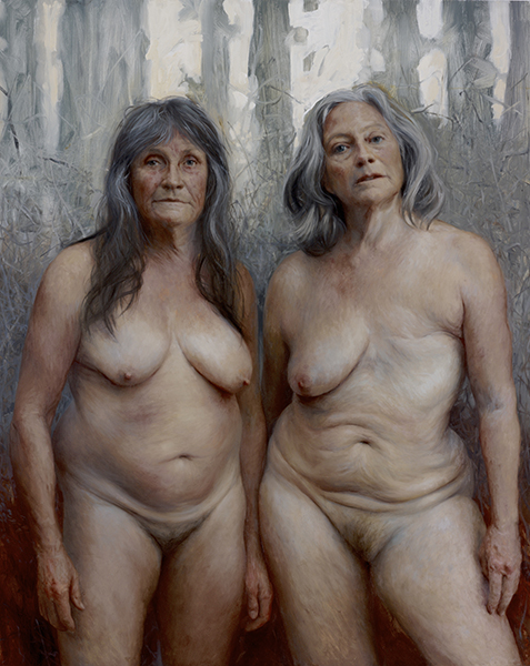 <em>Shanti and Heather</em>   oil on canvas   60 x 48 inches   Aleah Chapin