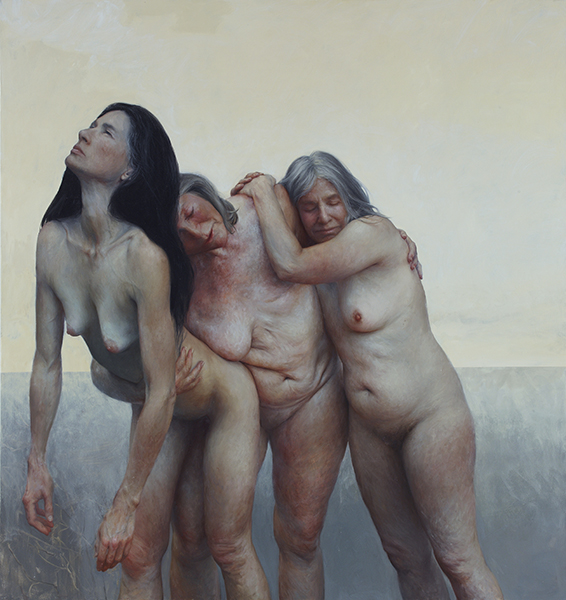 <em>The Three Graces</em>   oil on canvas   76 x 74 in   Aleah Chapin