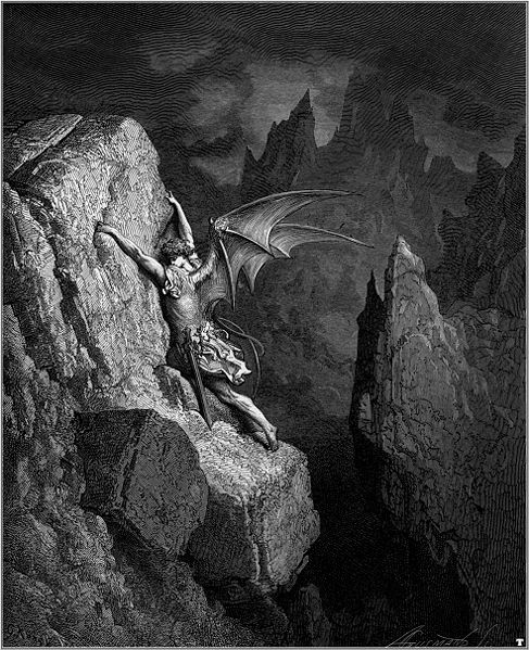 "The fall of Lucifer: Illustration for John Milton's ""Paradise Lost"" by Gustave Doré, 1866."