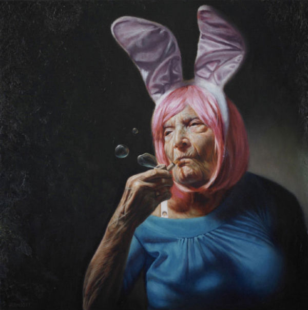 """Haughty Elaine   Jason Bard Yarmosky   oil on linen   24″x24″   private collection   New York   See the Combustus interview: """"Jason Bard Yarmosky's Hyper Realistic Oil Paintings Challenge Notions of Aging Gracefully"""""""