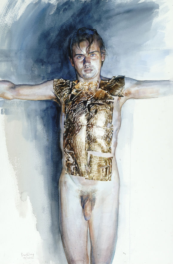 Vincent, feuille d'or (etude pour Michel) II | watercolour on paper/aquarelle | 76 x 56 cm, 30 x 22"