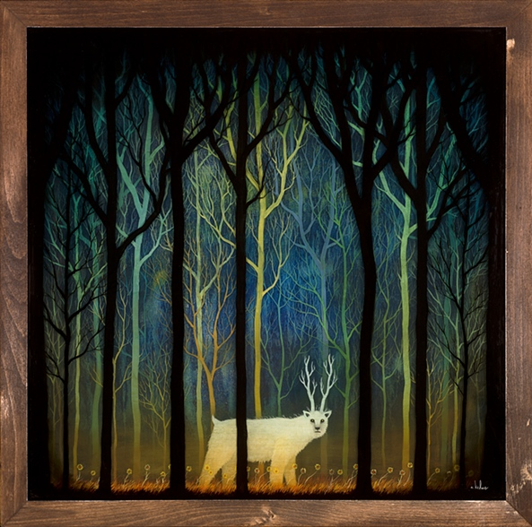 """Profound Encounters Amid the Forest Deep 2012 Oil, Acrylic and Resin on Wood 24"""" x 24"""" """"Into the Depths"""" Solo Show Thinkspace Gallery Culver City, CA  (Sold) H"""