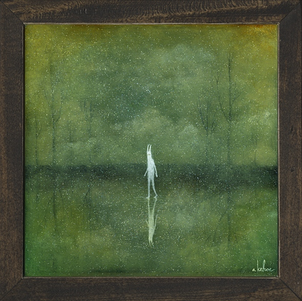 "image 4  Amongst the Ether 2012 Oil, Acrylic and Resin on Wood 10"" x 10"" ""Into the Depths"" Solo Show Thinkspace Gallery Culver City, CA  (Sold)"