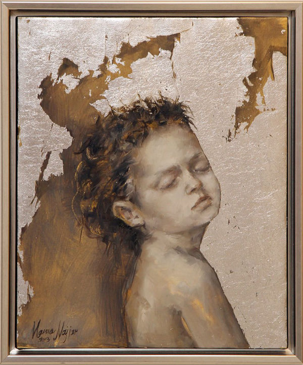 Sleep | 55x45 | oil and silver leaf on canvas | Marwa Alnajjar