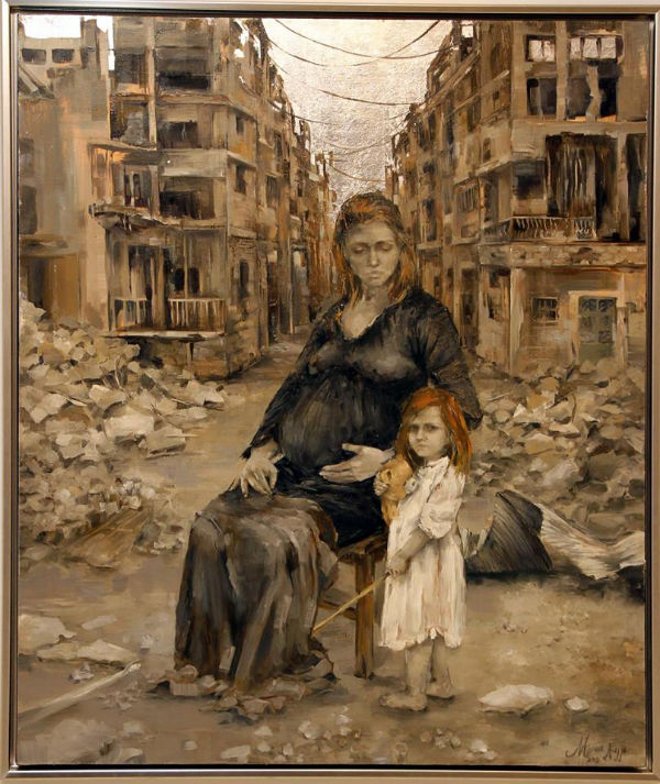 Survive | oil and silver leaf on canvas | 95x115 | Marwa Alnajjar