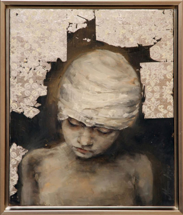 Pain | 55X45 | oil and silver leaf on canvas | Marwa Alnajjar