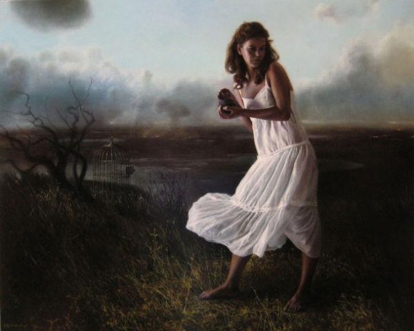 The Hideout   oil / canvas   81 x 65 cm.   Edgar Noe Mendoza Mancillas