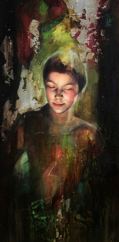 "La Llama que Enciende | Mixed media on canvas | 16"" x 35"" (40 cm x 90 cm) | 2009 | Sol Halabi"