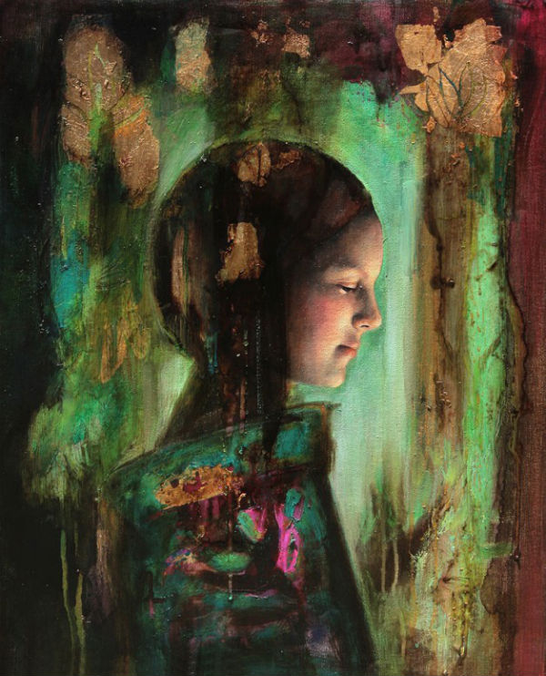 "Niña en verde | Mixed media on canvas | 16"" x 20"" (40 cm x 50 cm) | 2009 } Sol Halabi"