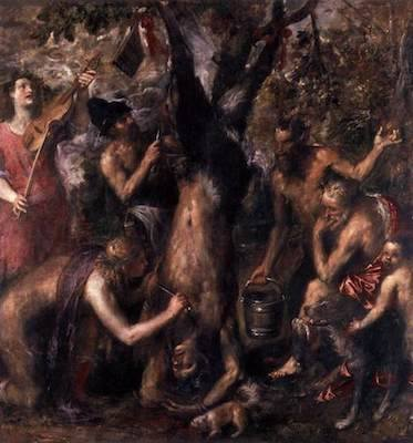 The Punishment of Marsyas (also known as The Flaying of Marsyas) | Oil on canvas | 212 cm × 207 cm (83 in × 81 in) | Titian | c. 1570–1576 | National Museum, Kroměříž