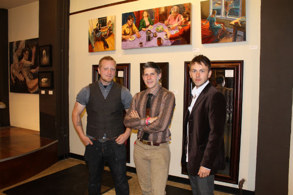 Luke Hillestad with friends Jamie Cook (left) and Luke Tromiczak (center) at an art opening.