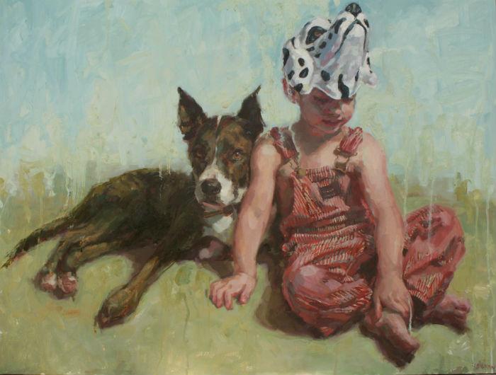 Dog and His Boy _ oil on wood _ 30_ x 40_ _ Jennifer Balkan 700