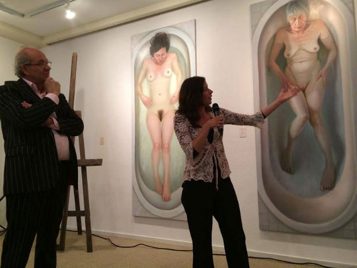 Dutch figurative painter Francien Krieg at her opening that runs through today, September 7, 2014, in Hangar 6 Amsterdam.