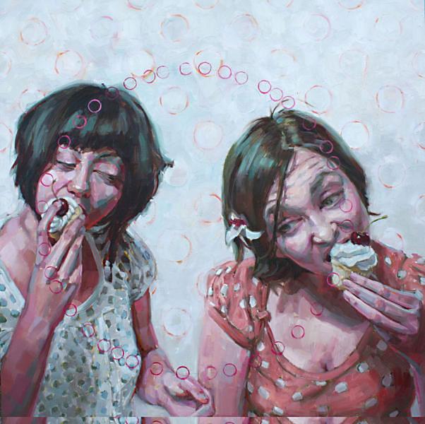 "Primal | oil on wood | 36""x36"" | Jennifer Balkan"