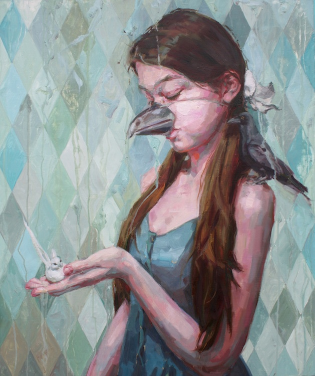 "Birds | oil on wood | 36"" x 30"" 
