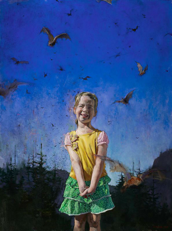 John    Brosio Little Girl with Bats, 48 x 36, oil on canvas, 2012